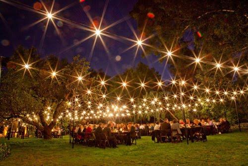 Outdoor Wedding Reception Night Lights